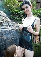 Filthy shemale domme playing in the woods