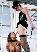 TS Mandy having fun with her new slave Ally