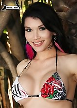 Eva Lin turns up the summer heat in a sexy two-piece bikini. Watch her strip by the pool at Buddy Wood's place!