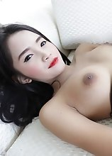 28yo sexy Thai ladyboy gets a face full of cum from big white cock