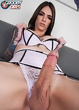 Watch superstar Chelsea Marie posing, stripping and stroking her big rock-hard dick!
