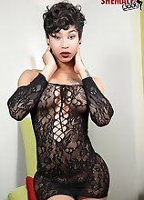 Megan Snow is a beautiful ebony tgirl with a pretty face, slim body, big boobs, a rock hard cock and an amazing bubble butt!