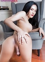 Watch ladyboy Jamin as she gets naked, spreads her legs and shows off her cock!