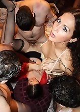 Sweet Nikki fucking a chick in a crazy UK gangbang