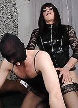 Zoe and her TGirl friend sucks and fucks a black stud and a horny masked sissy.