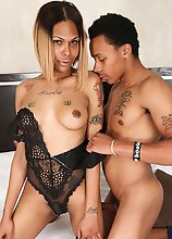 Beautiful Kim has a sexy body, pretty tits, a nice cock and a great ass! Watch this sexy black transgirl sucking cock and getting fucked by AB in this