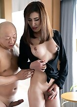 Asian Ladyboy Allison Cock Teasing and Forced Blowjob