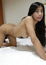 20yo busty Thai newhalf gets fucked in her tight ass by white cock