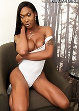 Superstar Kayla Biggs is back, stunning as ever with an amazing body and that big cock of hers! Enjoy this hot black tgirl showing off her sexy body!