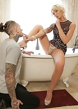 Blonde trans girl Aubrey Kate loves tattooed alt boys, and Ruckus fits that description perfectly. She pulls him into the bathroom and demands to see